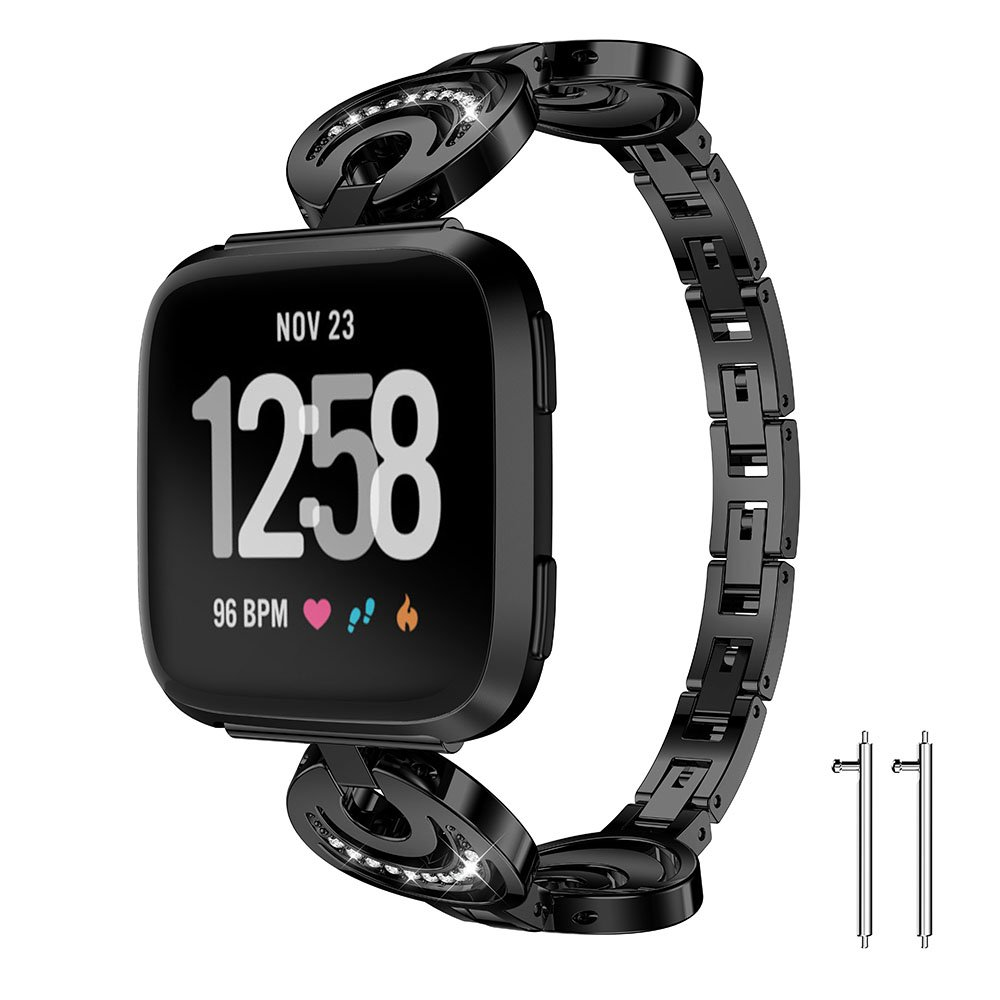Fitbit Versa Metal Band, Newest Replacement Accessory Metal Watch Bands Bracelet for Fitbit Versa Smart Watch, 4 Colors Available (Black, 5.8-8.1 Inches wrist)