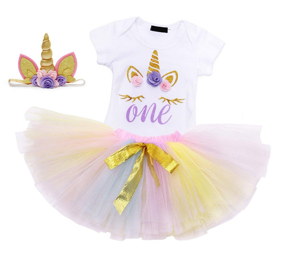 amzbarley unicorn headband romper outfits baby girl 1st birthday