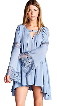 4c621e9ad1471 Jodifl Women s Boho Chic Lace Bohemian Long Bell Sleeve Top Blouse Tunic   Powder Blue