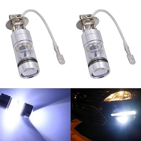 Automobiles & Motorcycles 2pcs 100w High Power H7 Led Headlight 20 Smd Car Fog Lights Dc 12v~24v 360 Degree White Car Headlight Bulbs(led)