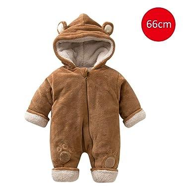 cb07e49f1028 iBaste Baby Winter Jumpsuit Newborn Infant Toddler Baby Boys Girls Thicker  Warm Hooded Zipper Romper Flannel