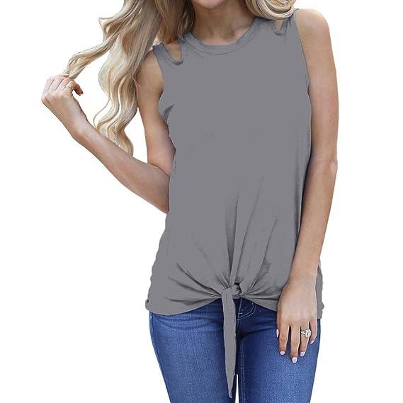 Camisetas Mujer Tirantes AIMEE7 Blusas Anudadas Camisetas Mujer Manga Corta Baratas (S, Gris)