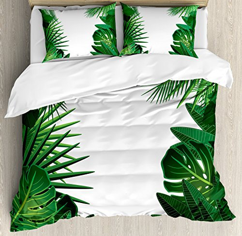 Leaves Duvet Cover Set King Size by Ambesonne, Exotic Fantasy Hawaiian Tropical Palm Leaves with Stylish Floral Graphic Art, Decorative 3 Piece Bedding Set with 2 Pillow Shams, Green (Leaf Tropical Rug)