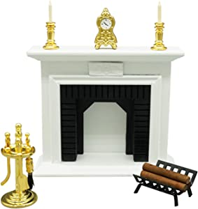 1:12 Dollhouse Fireplace Set 6 Pieces for Living Room Furniture (White)