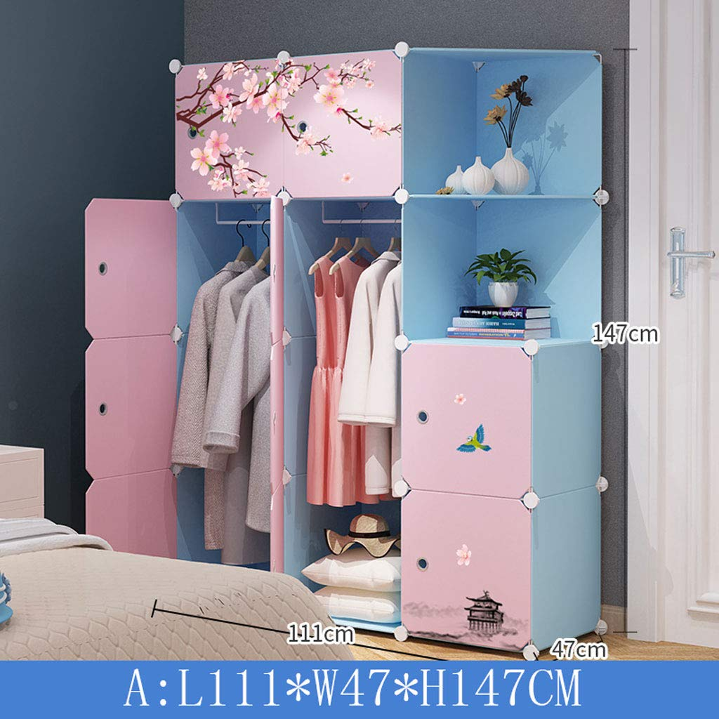 Clothes Closet Wardrobe Wardrobe Portable Clothes Closet Cupboard Bedroom Furniture by Freestanding Storage Organizer with Doors 10 Cube (Color : B)