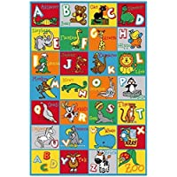 Onestopshops Children Area Rug Carpet Mat in 5ftx7ft Abc Animal Educational (5x7)