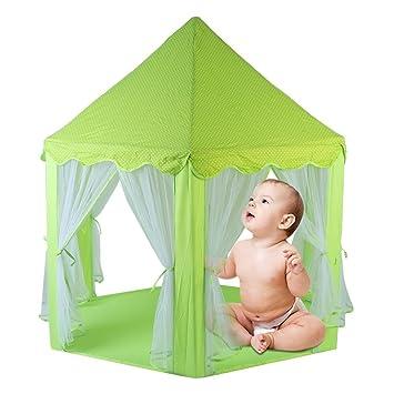 TataYang Tienda de campaña para niñas con Castillo de Princesa y Tienda de campaña portátil para niños en Interiores y Exteriores (Verde): Amazon.es: ...