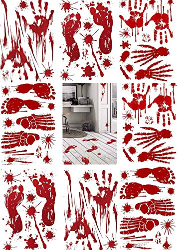MMDAI Bloody Handprints Footprints Stickers Clings - 74 pcs Halloween Vampire Zombie Party Decorations Decals Bloodstain Supplies for Wall Door Window Floor Bathtub Haunted House Indoor/Outdoor