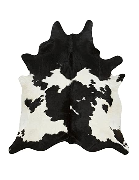 A STAR Large White Cowhide Rug   Black And White Cow Hide Rug (5x6