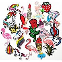 Mosheng Accessory 25pcs DIY Embroidery Flamingo Unicorn Mix Patterns Iron On Patches or Sew On Patches Applique for Clothes Backpacks T-shirt Jeans Skirt vests scarf Hat Bag (Style 3)