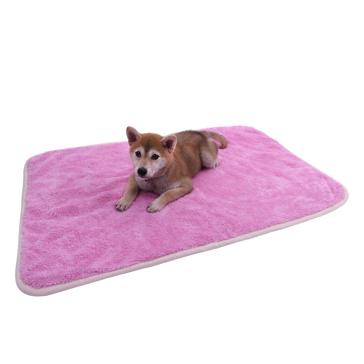 Speedy Pet Puppy Velvet Blanket Pet Cushion Small Dog Cat Bed Soft Warm Sleep Mat Rose-red S