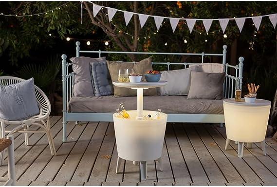 Koll-Living Nevera portátil & Bistro Mesa con Integrado LED de luz, pie Mesa con Recipiente para Hielo, Altura Regulable hasta 85 cm con einfachem Mecanismo telescópico: Amazon.es: Jardín
