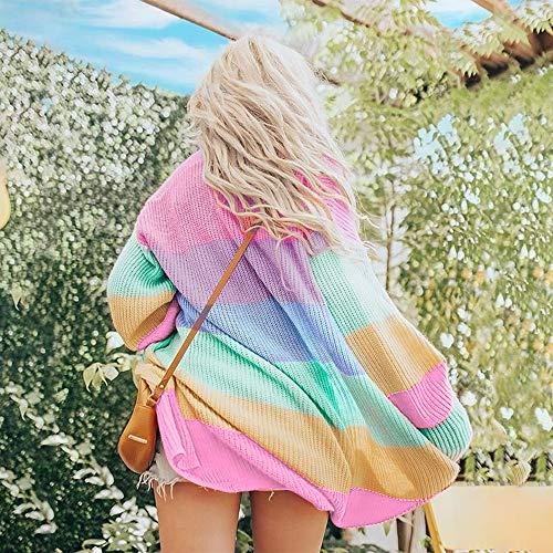 Coprente Maniche Con Mkhdd Misto Arcobaleno Leggero Cardigan Multicolored E Cappotto Maglione Lunghe TzYqw6O
