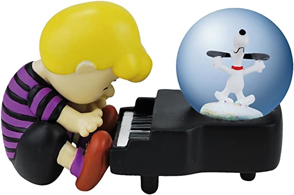 Westland Giftware Water Globe Figurine, 45mm, Peanuts Snoopy Piano Dance