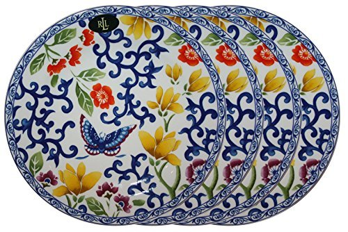 Ralph Lauren Mandarin Blue Collection 9 1/4'' Butterfly Lunch Plate (Set of 4)
