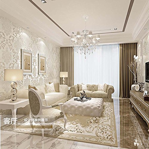 QIHANG European Style Luxury 3D Damask Pearl Powder Non-woven Wallpaper Roll Cream-white Color 0.53m x 10m=5.3㎡ by QIHANG (Image #3)