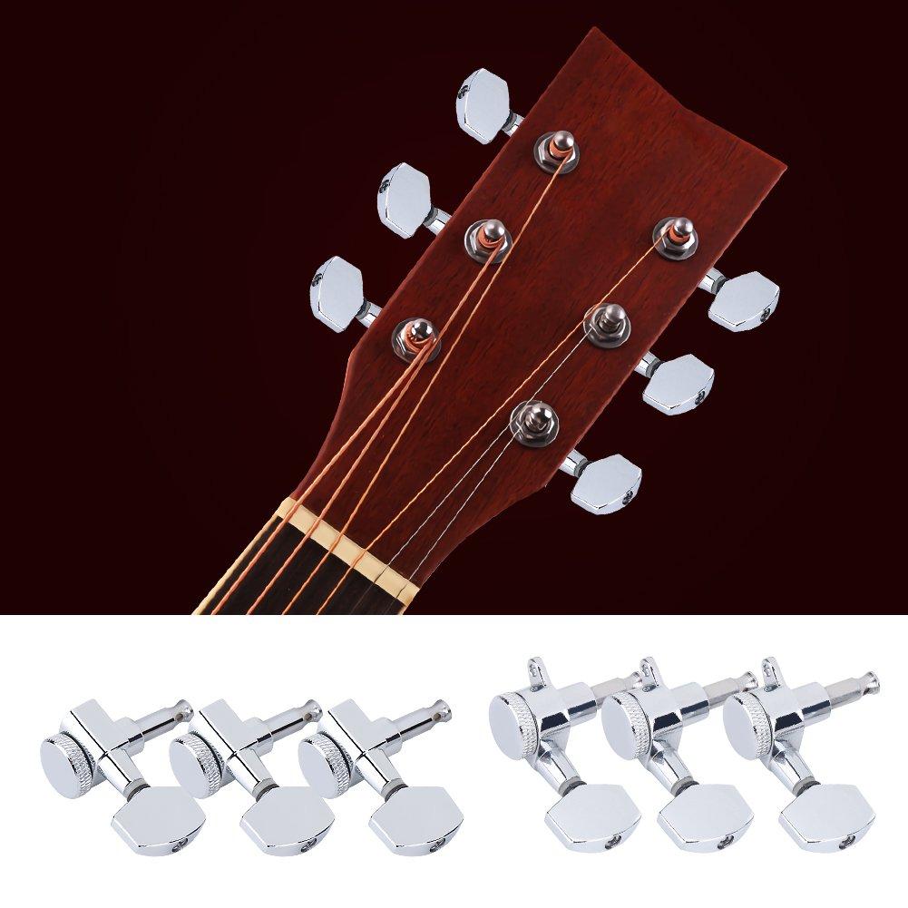 Clavijas de afinación, 6 piezas de la máquina de la guitarra Jefes 3 Izquierda Derecha 3 Guitarra de Cuerda de las clavijas de los sintonizadores de Llaves ...