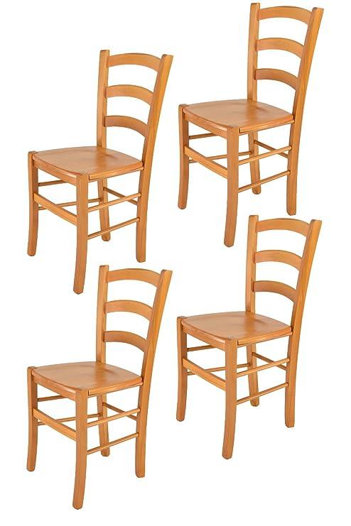 Tommychairs sillas de Design - Set 4 sillas Modelo Venice para Cocina,  Comedor, Bar y Restaurante, con Estructura en Madera Color Miel y Asiento  en ...