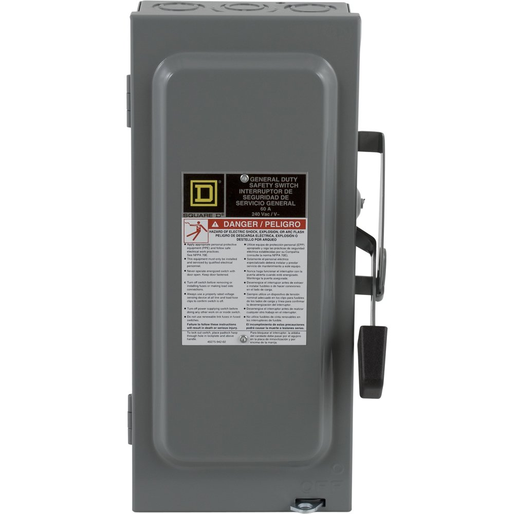 Square D By Schneider Electric D222ncp 60 Amp 240 Volt Two Pole Fuse Box Residential Indoor General Duty Fusible Safety Switch With Neutral Circuit Breaker Panel