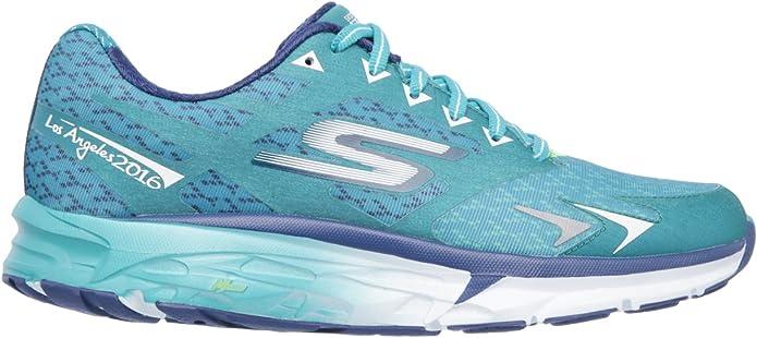 Skechers Performance Go Run Forza Los Angeles 2016 - Zapatillas de running para mujer, Verde (Verde azulado), 35 EU: Amazon.es: Zapatos y complementos