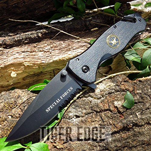Elite Forces Tactical Knife (New Cool ProTactical Limited Edition Elite FOLDING POCKET Knife | Black Special Forces Tactical Serrated EDC)