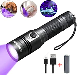 UV Flashlight, LED 395nm Ultraviolet Flashlight, Rechargeable Blacklight Flashlight IP65 Waterproof Detector for Pet Urine, Cat Dog Stains, Bed Bug, Household Wardrobe Toilet (18650 Battery Included)