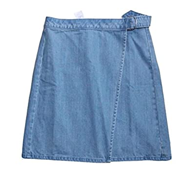 b9c0063a82 Loft - Women's - True Wrap A-Line Denim Skirt (00) at Amazon Women's ...