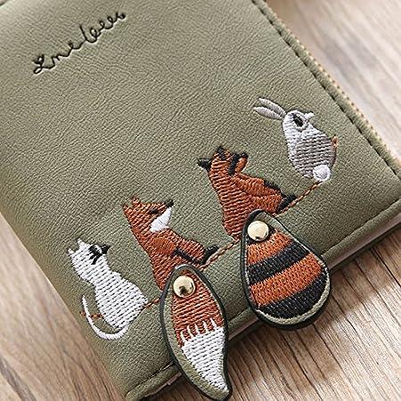Portatarjetas Zero Pouch Mini Monedero Mujer Dxlta Cuero de PU Patr/ón de Bordado Fox de Cola Grande Billetera Corta