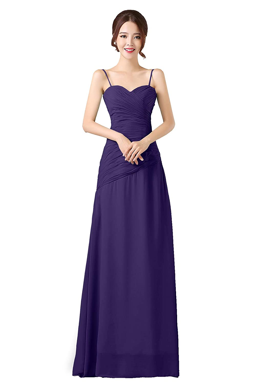 Cadbury Purple ANGELWARDROBE Spaghetti Straps Bridesmaid Dresses Long Oblique Ruffles Party Prom Gowns