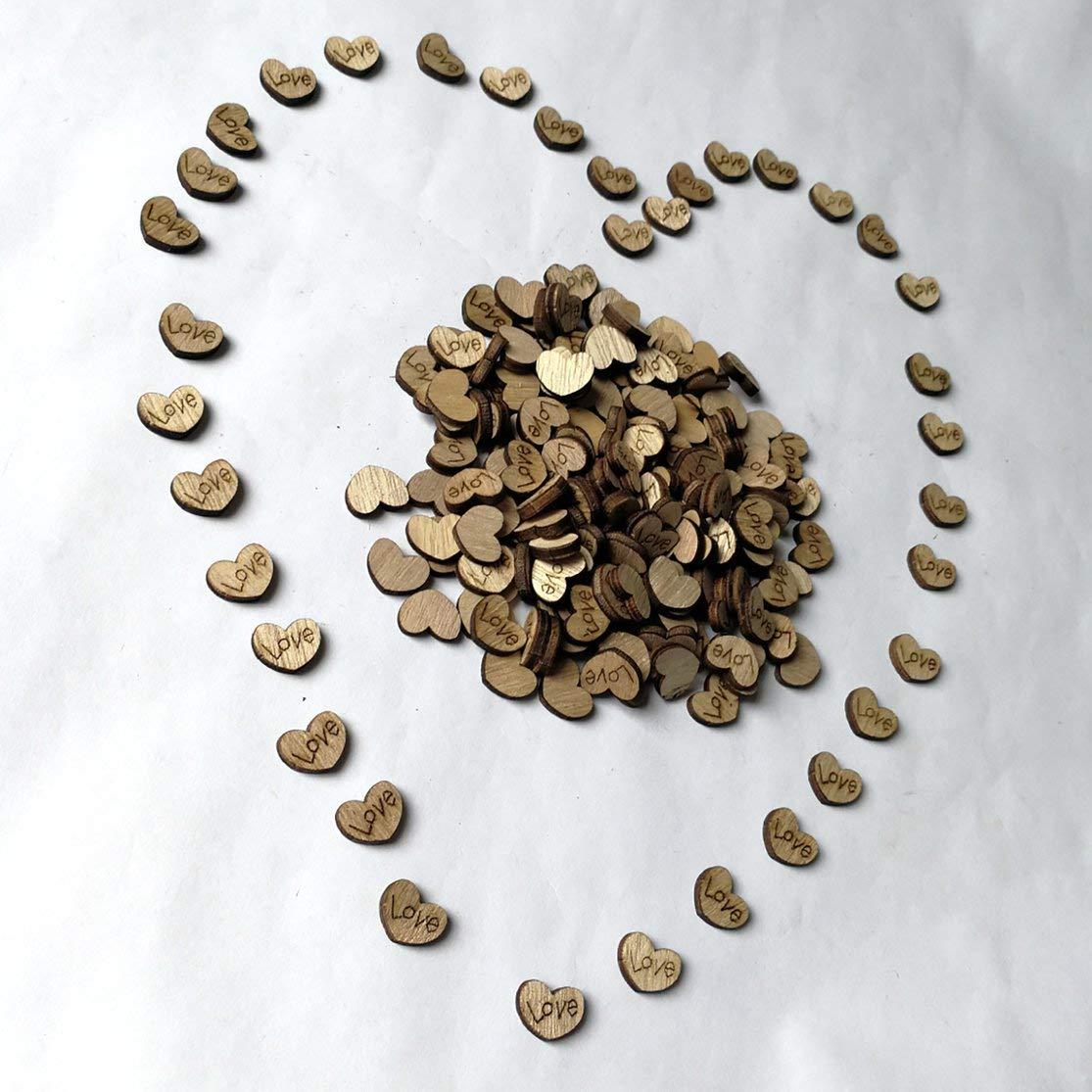 LouiseEvel215 200 Pezzi in Legno Amore Cuori Ornamenti Naturali Artigianato Arredamento Rustico in Legno Modello Cuore Amore Matrimonio Decorazione della tavola Artigianato