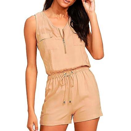 8ed53ba9f97 Amazon.com  Hemlock Women Zipper Vest Tops Jumpsuit Romper Shorts ...