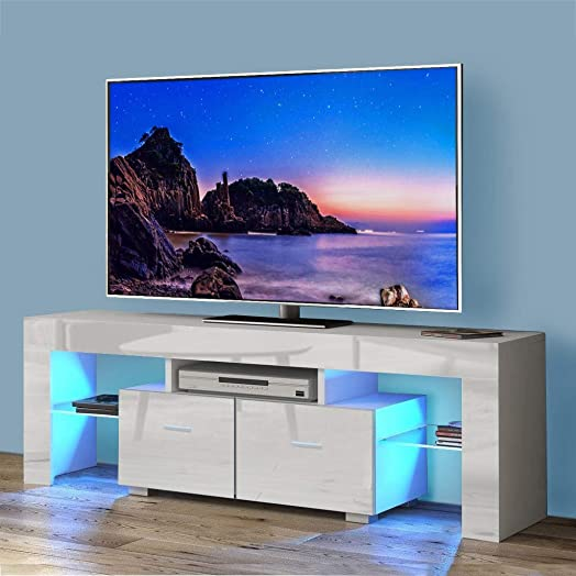 Binrrio Modern TV Stand with LED Lights, High Gloss Television Stand Entertainment Center Console Table for Living Room, for 51 TV White-4