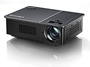 "Native 1080P Projector, Crenova HD Video Projector, 5800 Lux LED Movie Projector with 200"" Display, Compatible with TV Stick, HDMI, VGA, USB, iPad, PC, Xbox, iPhone for Home Theater Entertainment"