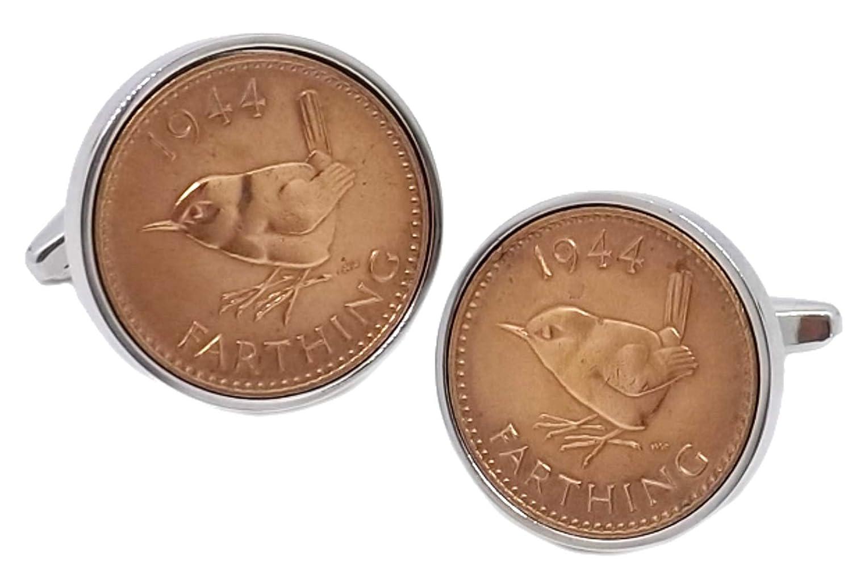 cadeau de 75 ans par CUFFLINKS DIRECT 1944 pi/èces de monnaie Farthing britanniques dans un sertissage argent pour homme