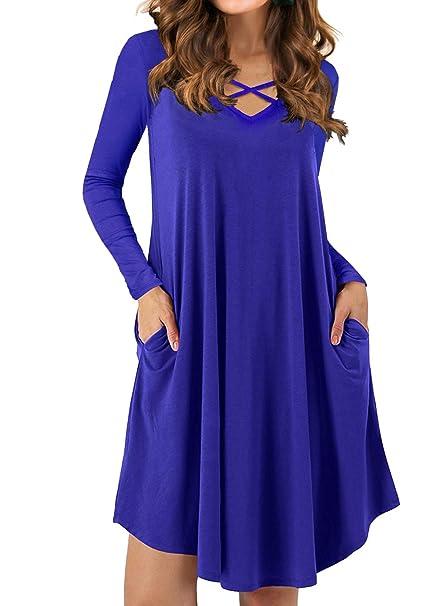 ca51ddad88a5 QIXING Women's Long Sleeve Casual Loose Swing T-Shirt Dresses Royal Blue-XS