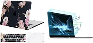 MOSISO MacBook Pro 16 inch Case 2020 2019 Release A2141, Plastic Peony Hard Shell Case & Keyboard Cover & 2 Pack Screen Protector Matte Laptop Blue Light Blocking Anti-UV Eye Protection Filter Film