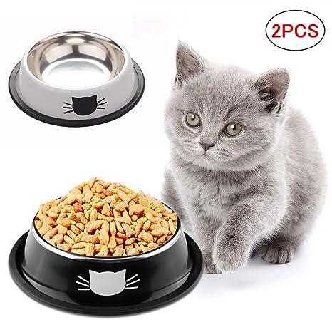 SaponinTree Cuencos para Gatos, 2 Piezas Cuencos Antideslizantes ...