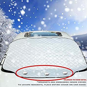 VIVVAUTO Car Windshield Snow Cover with Magnets and Padded Waterproof Fabric. 2017 New Design