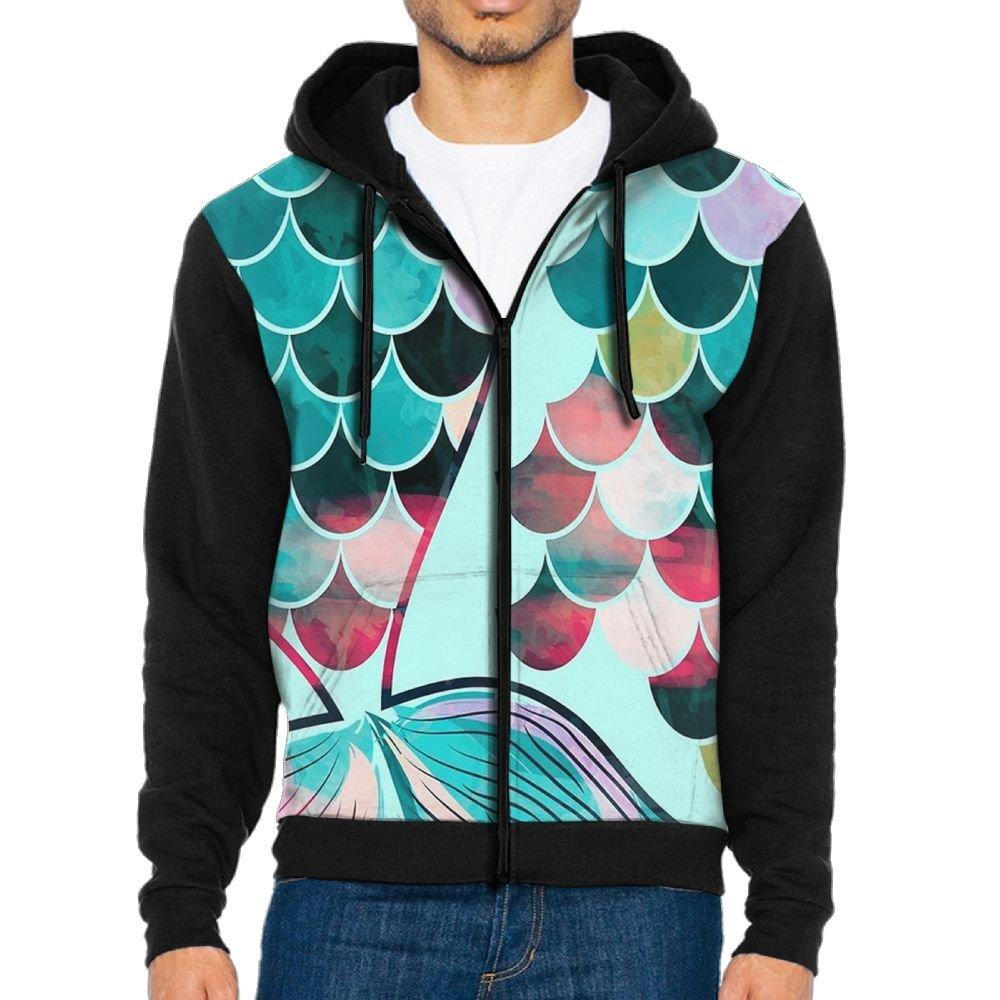 UYILP Mens Mermaid Scale Fashion Casual Athletic Long Sleeve Crew Sweatshirt Zipper Hoodie Pockets