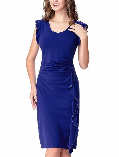 Noctflos Women's Ruffles Slim Fit Business Casual Pencil Work Dress