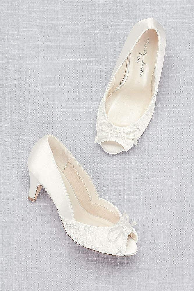 David's Bridal Lace and Satin Peep-Toe