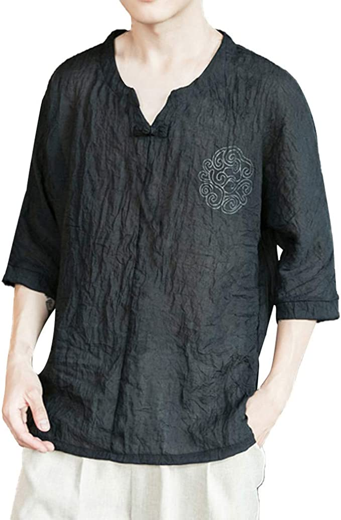 Mens 3//4 Sleeve Linen Hipster Slim Breathable Button Down Shirts