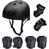 Skateboard / Skate Protection Set with Helmet--SymbolLife Helmet with 6pcs Elbow Knee Wrist Pads for Kids BMX/ Skateboard / Scooter, For Head Size S (48-54cm), M (52-58cm), L (55-62cm)