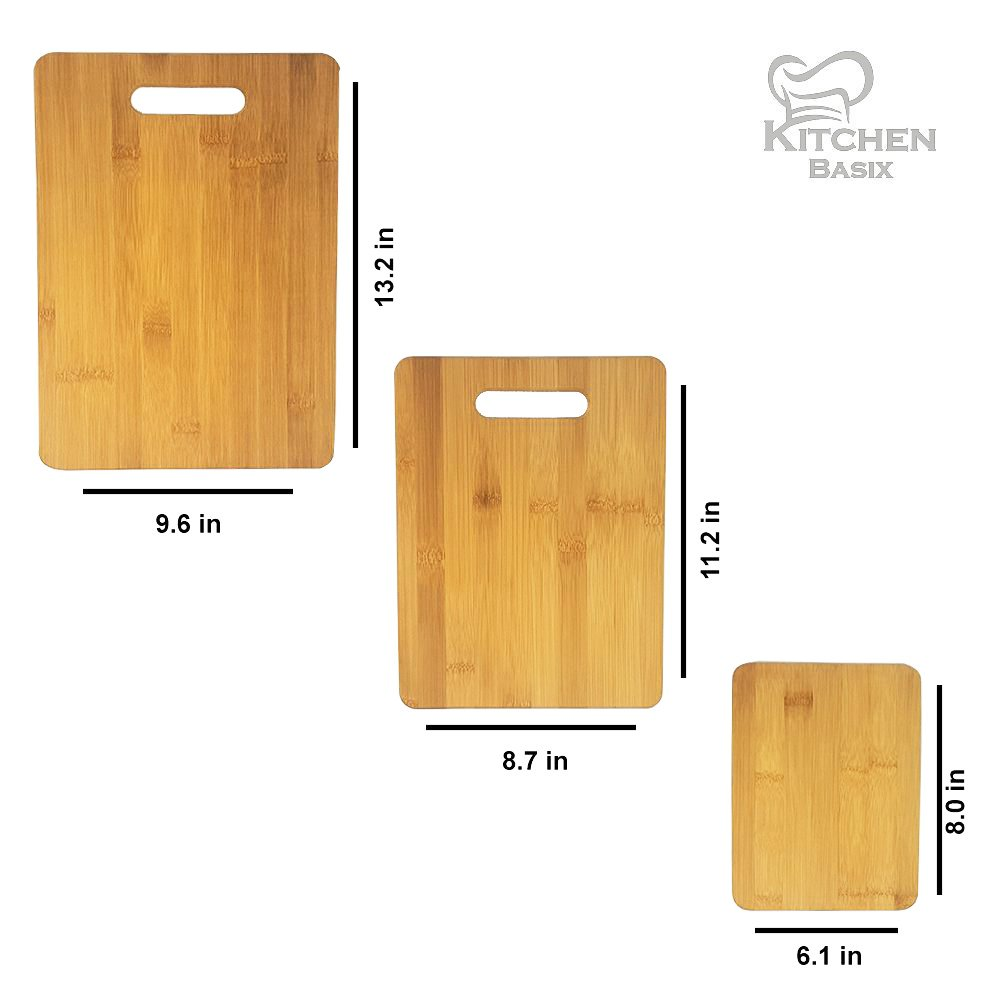 Bamboo Cutting Board 3 Piece Set, Made From Premium 100% Organic And Safe Antibacterial Wood, Newest Non-Stick Design, FDA Approved And BPA Free Kitchen Chopper Reversible Stand. Kitchen Basix by Kitchen Basix (Image #2)