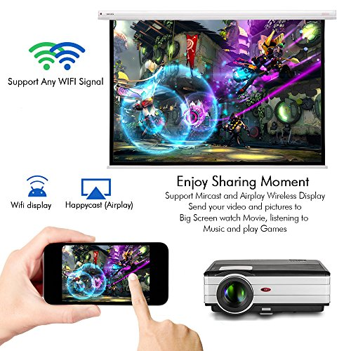 Android WiFi Projector 3500 Lumen- Support 1080P Full HD WiFi Airplay Miracast- LCD Multimedia LED Home Theater Movie Video Game- HDMI USB SD VGA Built-in Speaker by EUG (Image #2)