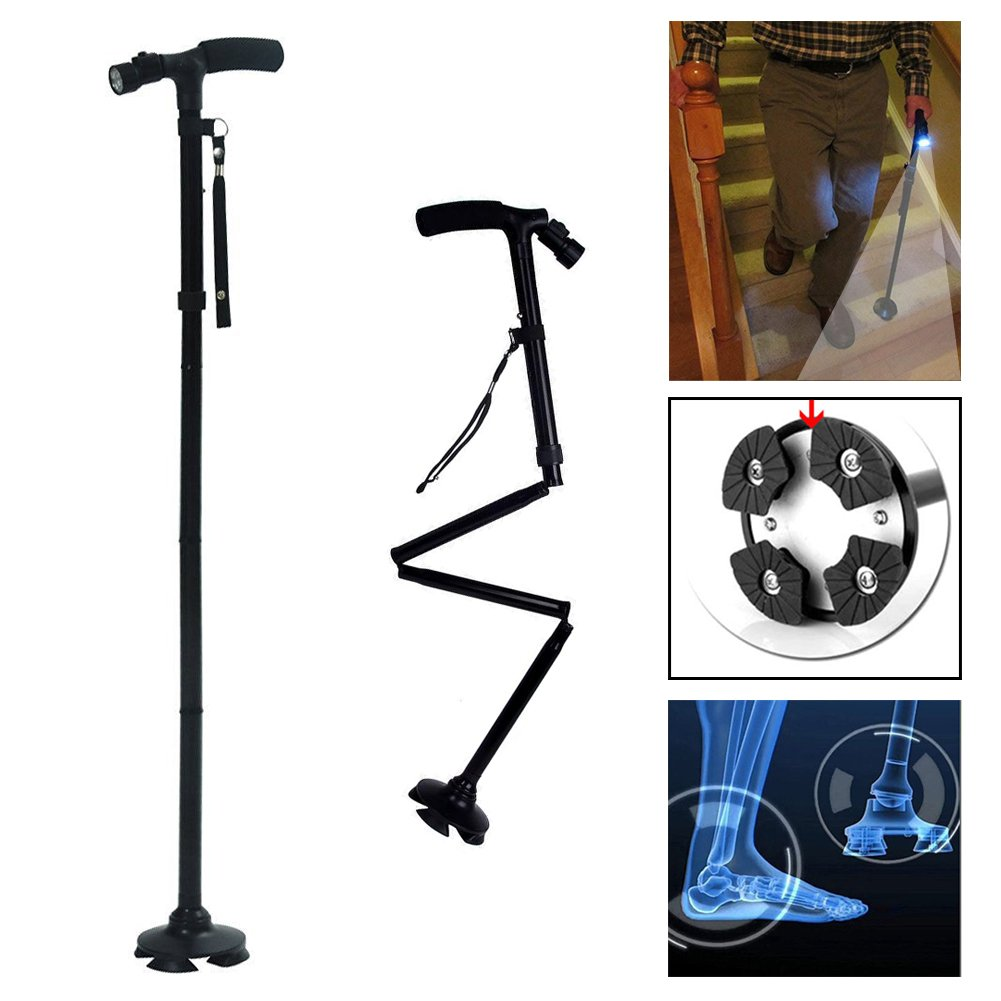 Portable Folding Assistive Cane Lightweight Handle Strap Dependable Older Walking Support with Emergency LED Flashlight 5 Levels Height Adjustable CA11-4E4