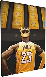 YTREE N-BA Legends Basketball Star L-ebron James Classic Posters HD Prints on Canvas Modern Home Decor Wall Art Painting Picture Stretched and Framed Artwork Ready to Hang 12x16 inch