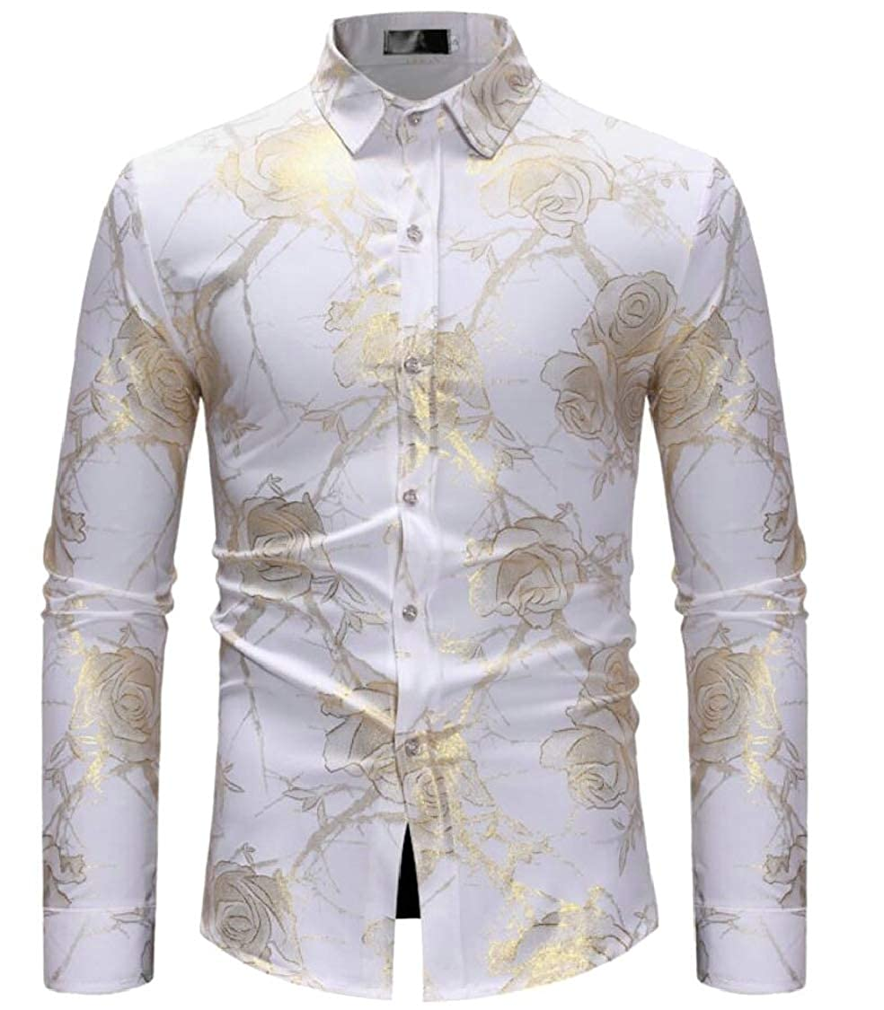 Lutratocro Men Curved Hem Print Lapel Neck Slim Fit Button Down Shirts