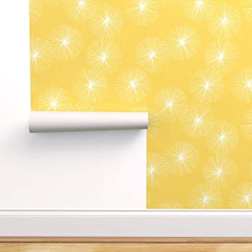 Spoonflower Peel And Stick Removable Wallpaper Mod Yellow And White Floral Modern Dandelion Retro Wedding Print Self Adhesive Wallpaper 12in X 24in Test Swatch Amazon Com