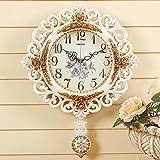 Cheap CGGHY 16 Inch Wall Clock (40.5 Cm In Diameter) Lisson Clock American Retro Watch European Wall Living Room Mute Art Swing Quartz Clock Wall Watch B8217Fs (Light)